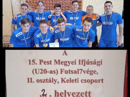 Futsal U20 - második hely a Pest megyei II. osztályú ifjúsági futsal bajnokság keleti csoportjában